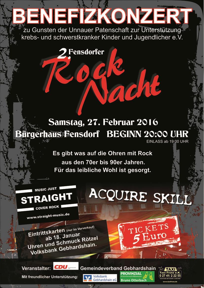 Acquire Skill und Straight rocken am 27. Februar 2016 für die Unnauer Patenschaft