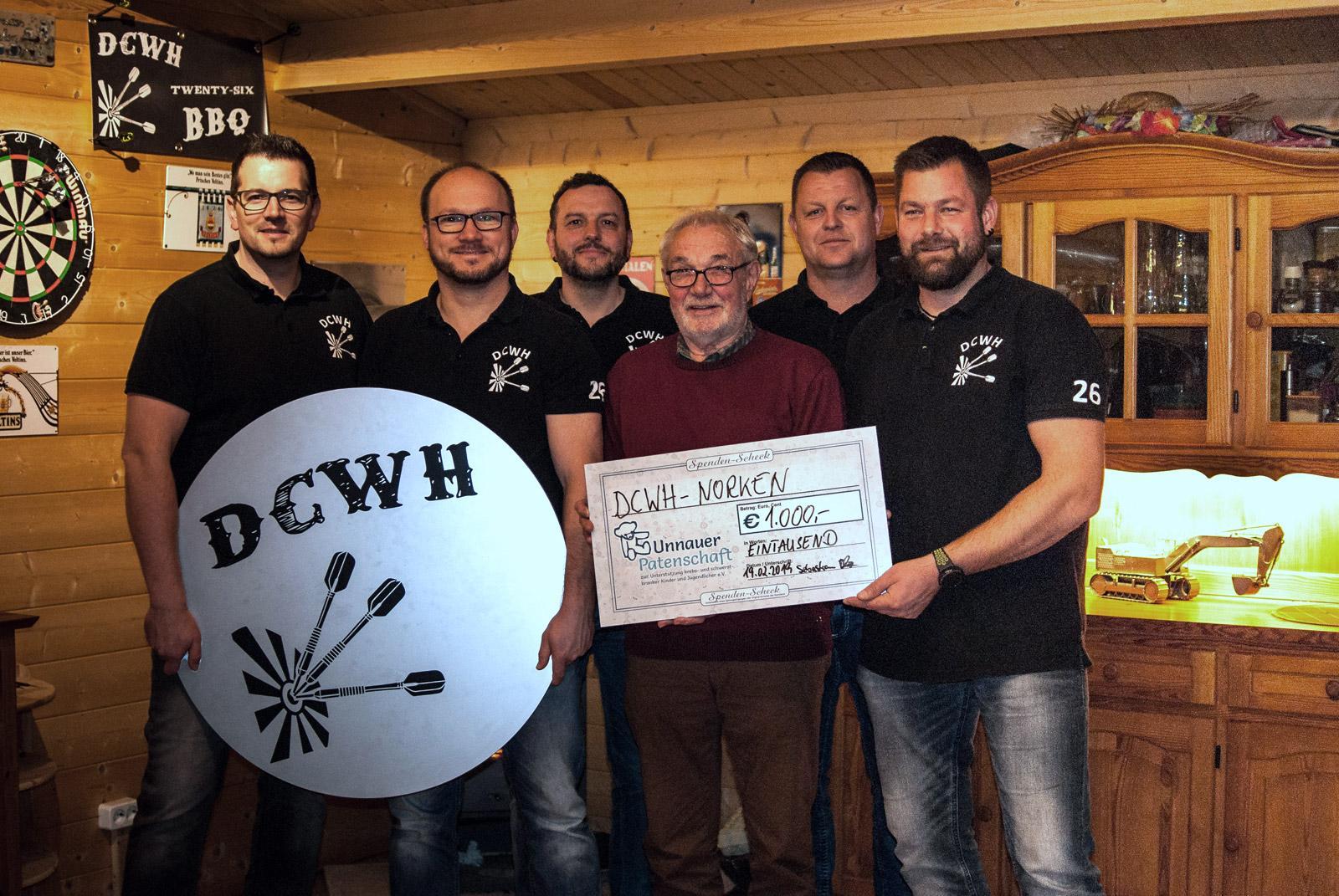 Weitere Spende vom Dartclub DCWH Norken an Unnauer Patenschaft